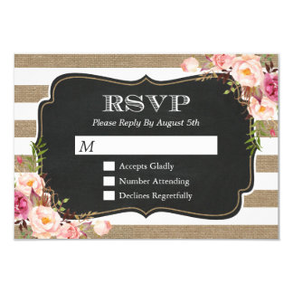 Elegant Shabby Burlap Stripes Floral RSVP Reply Card
