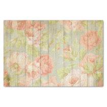 Elegant Shabby Chic Pink Pastel Flowers On Wood Tissue Paper