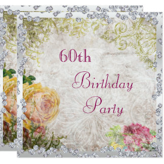 Elegant Shabby Chic Roses & Diamonds 60th Birthday Card