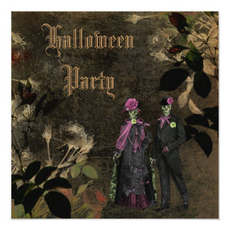 Elegant Shabby Chic Skeletons Halloween Party Card