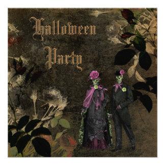 Elegant Shabby Chic Skeletons Halloween Party Invitations
