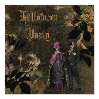 "Elegant Shabby Chic Skeletons Halloween Party 5.25"" Square Invitation Card"