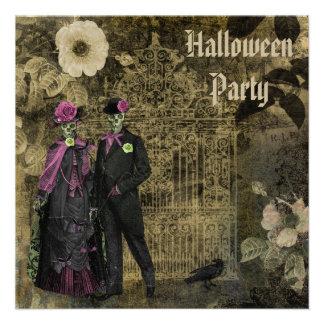 Elegant Shabby Chic Skeletons Halloween Party Personalized Invite