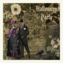 Elegant Shabby Chic Skeletons Halloween Party Invitation