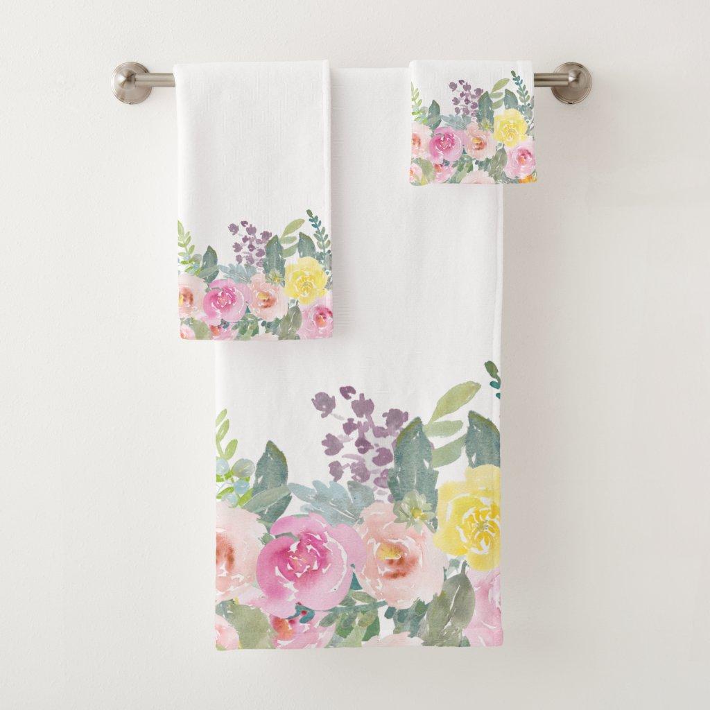 Elegant Shabby Chic Watercolor Spring Floral Bath Towel Set