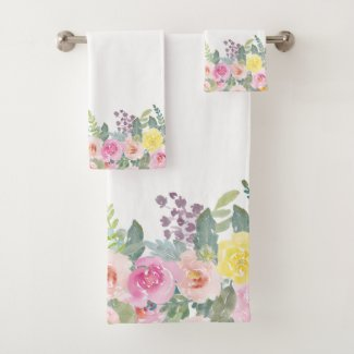 Elegant Shabby Chic Watercolor Spring Floral Bath Towel Set