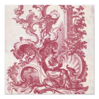 Elegant Shabby French Red Antique Engraving Toile Custom Invites