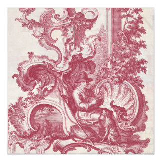 Elegant Shabby French Red Antique Engraving Toile Personalized Invitation