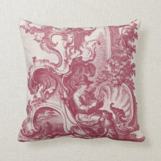 Elegant Shabby French Red Antique Engraving Toile Throw Pillow