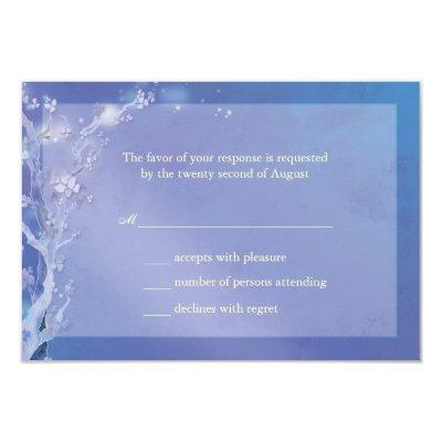 Elegant Shades of Blue Boho Wedding RSVP 3.5x5 Paper Invitation Card