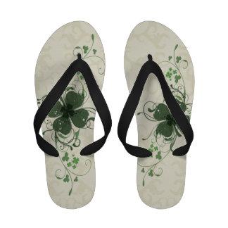 Elegant Shamrock Design Flip Flops