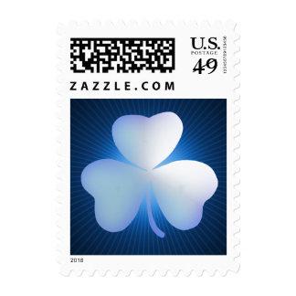 Elegant Shamrock on blue background Postage Stamps