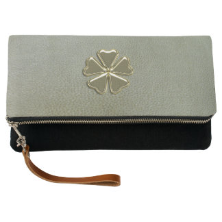 Elegant  Shamrock St.Patrick`s Day,Green Leather Clutch