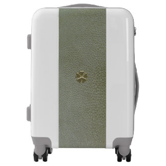 Elegant  Shamrock St.Patrick`s Day,Green Leather Luggage