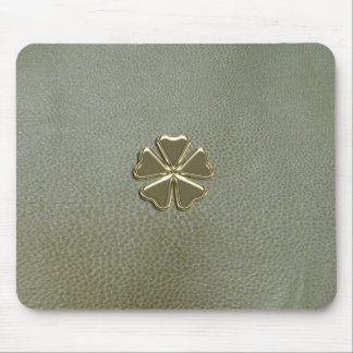 Elegant  Shamrock St.Patrick`s Day,Green Leather Mouse Pad