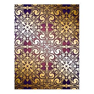 Elegant Shimmer Shine Damask Golden Purple Swirls Postcard
