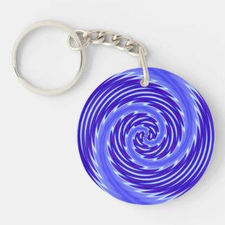 Elegant Shimmering Blue Vortex Modern Swirl Keychain