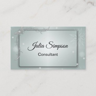 Elegant, Shiny, Ornamental, Grey, Consultant Business Card