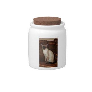 Elegant Siamese Cat Candy Jar