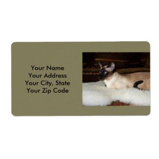Elegant Siamese Cat Label