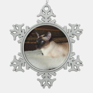 Elegant Siamese Cat Snowflake Pewter Christmas Ornament