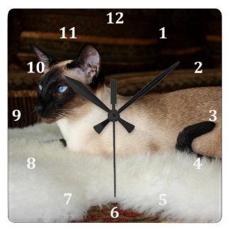 Elegant Siamese Cat Square Wall Clock