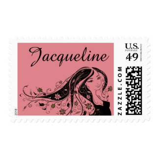 Elegant silhouette of lady ~editable name & color postage