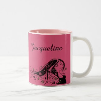 Elegant silhouette of lady ~editable name & color Two-Tone coffee mug