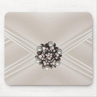 Elegant Silk Beige Pearl Jewel Purse Mousepads
