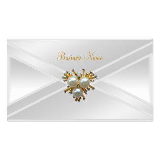 Elegant Silk White Gold Pearl Jewel Clutch Purse Business Card