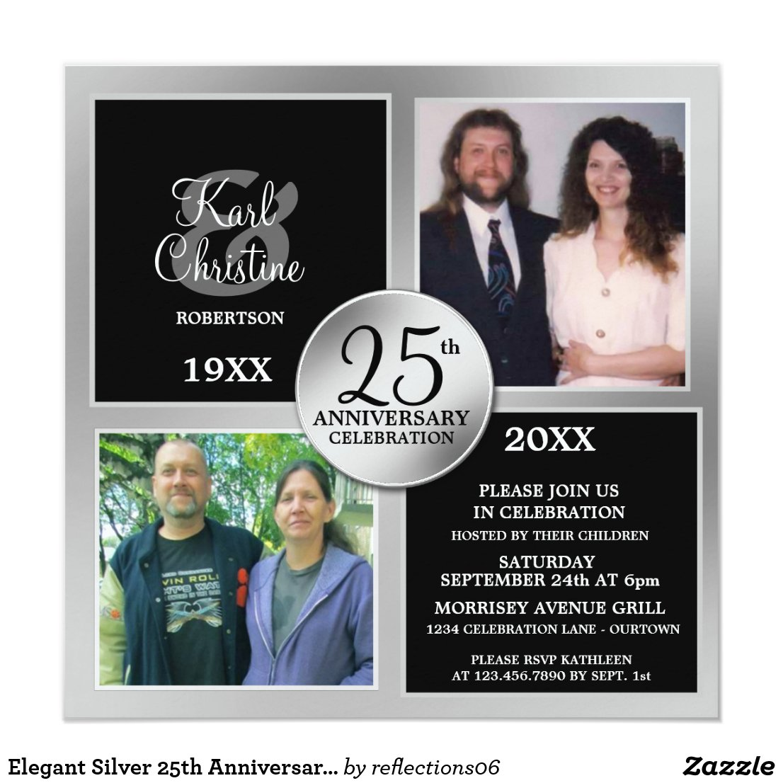 Elegant Silver 25th Anniversary Invitations