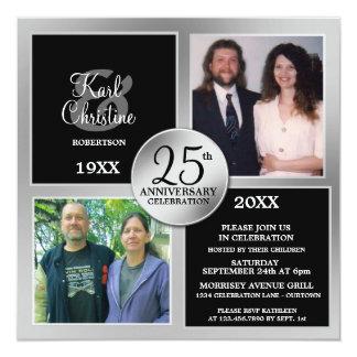 Elegant Silver 25th Anniversary Invitations