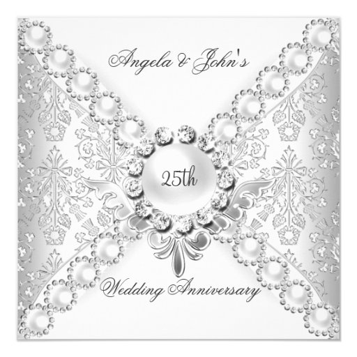Elegant Silver 25th Wedding Anniversary Damask 2 Invitation Zazzle