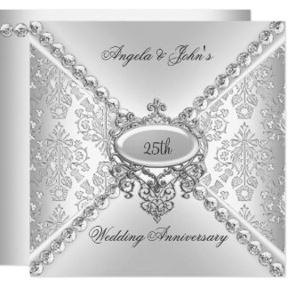 Elegant Silver 25th Wedding Anniversary Damask Card