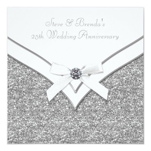 25th Wedding Anniversary Gift Experiences : Elegant Silver 25th Wedding Anniversary Party Card Zazzle