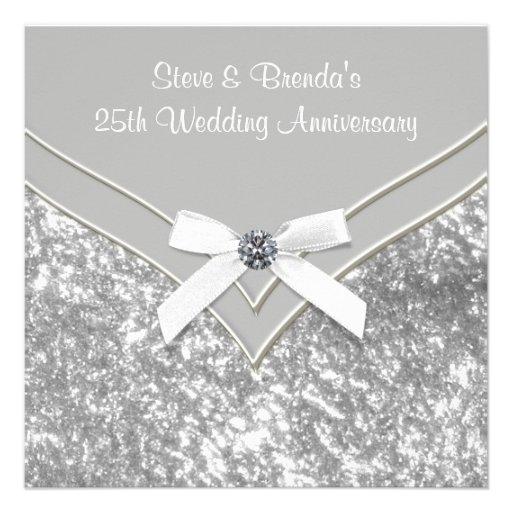 Elegant Silver 25th Wedding Anniversary Party Custom Announcement