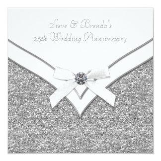 "Elegant Silver 25th Wedding Anniversary Party 5.25"" Square Invitation Card"