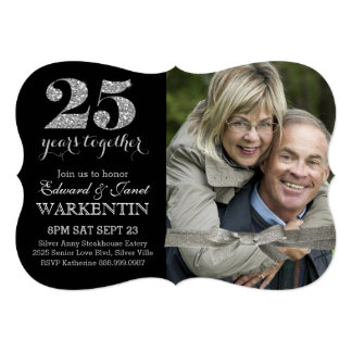 Elegant Silver 25th Wedding Anniversary with Photo 5x7 Paper Invitation Card