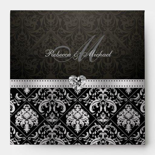 Elegant Silver and Black Damask Envelopes