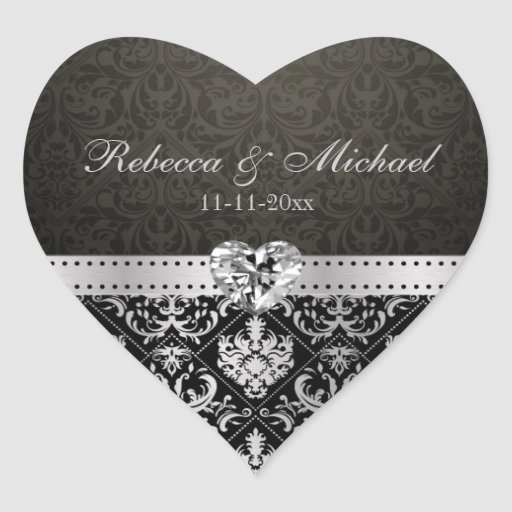 Elegant Silver and Black Damask with Diamond Heart Heart Stickers