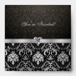 """Elegant Silver and Black Damask """"you're invited"""" Envelopes"""