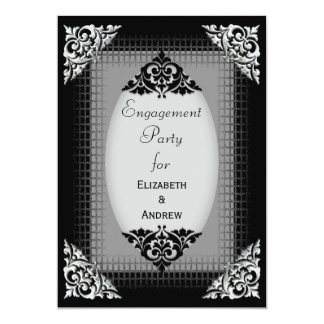 Elegant Silver and Black Engagement Party Card