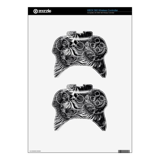 Elegant Silver and Black Fractal Art Xbox 360 Controller Decal