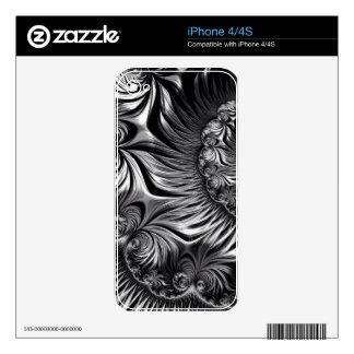 Elegant Silver and Black Fractal Art iPhone 4 Decal