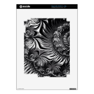 Elegant Silver and Black Fractal Art Decal For The iPad 2