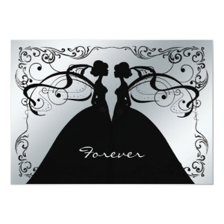 Elegant Silver and Black Gay Lesbian Wedding Invit Card