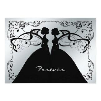 Elegant Silver And Black Gay Lesbian Wedding Invit Card