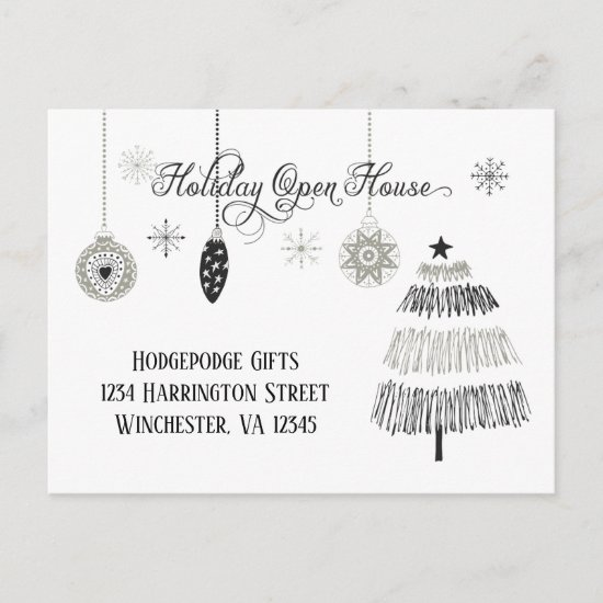 Elegant Silver and Black Holiday Open House  