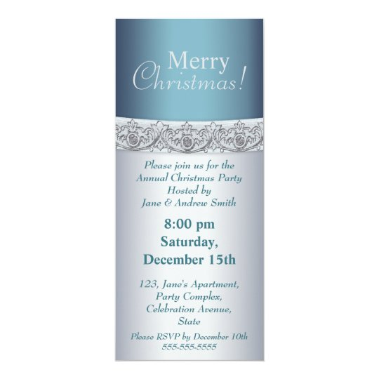 Elegant silver and blue Christmas party Invitation