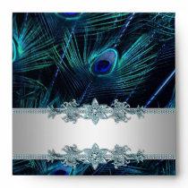 Elegant Silver and Blue Peacock Envelope